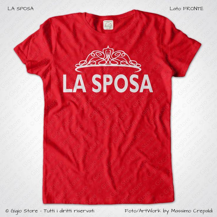 Magliette Matrimonio Addio al Nubilato La Sposa T-Shirt colore Rosso Stampa Personalizzata Bianco Taglia XS-S-M-L-XL-XXL