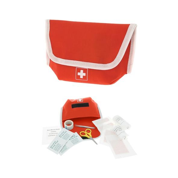 COD.BE047 Botiquín de Emergencia en tela Poliester. Incluye 17 accesorios.