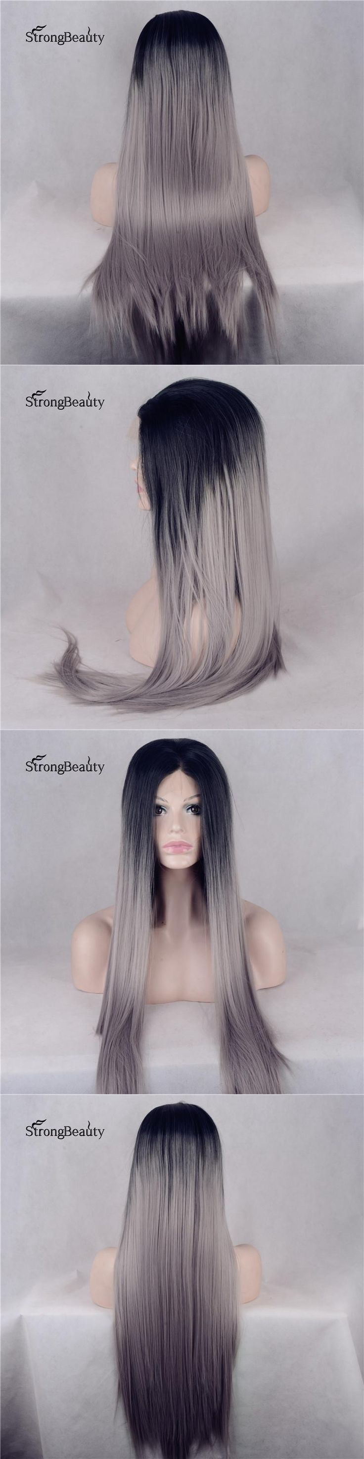 Strongbeauty Long Silk Straight Silver Wig Synthetic Ombre Black to Grey Lace Front Heat Resistant Wig for Black Women
