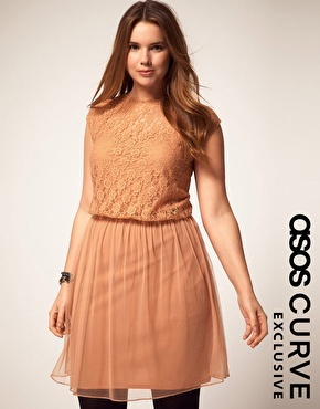 ASOS Curve Lace & Mesh dress.  Love the cafe au lait coloring, and the lace top.