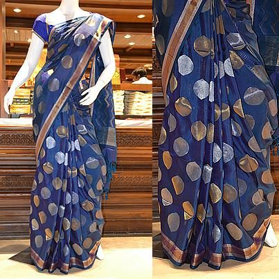 Blazing blue: A dotted pure uppada silk saree in blue. Price: Rs 21605. to view the finest range of uppada silk sarees. For online shopping like never before, please visit the all-new  http://www.pothys.co.in
