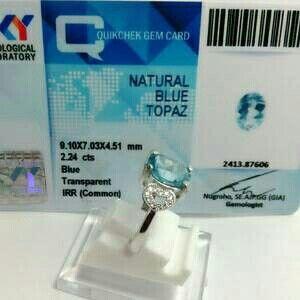 Blue Topaz (Topas) 606 + Memo Sky Lab + Ring Perak Cewek
