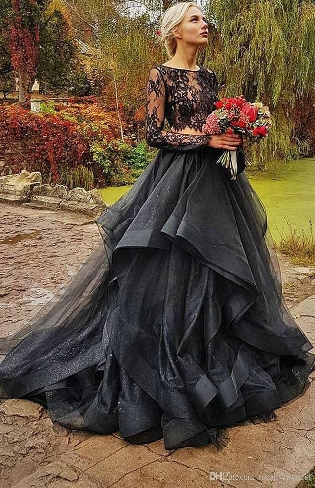 Gothic Black Illusion Lace Wedding Dresses Ruffles Organza Two Piece Bridal  Gown  BallGown 8a729151bb99