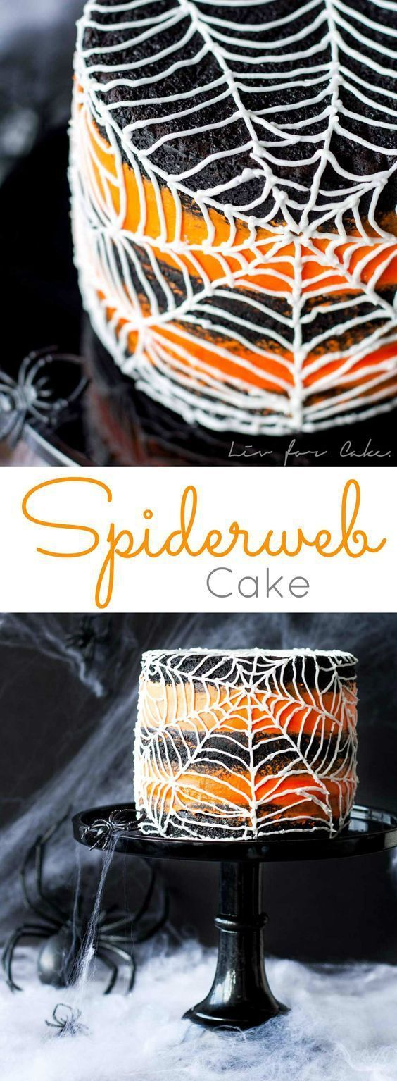 Halloween Party Recipes - Spiderweb Cake Dessert Recipe - Rich Black Cocoa Cake with an Orange Buttercream Frosting