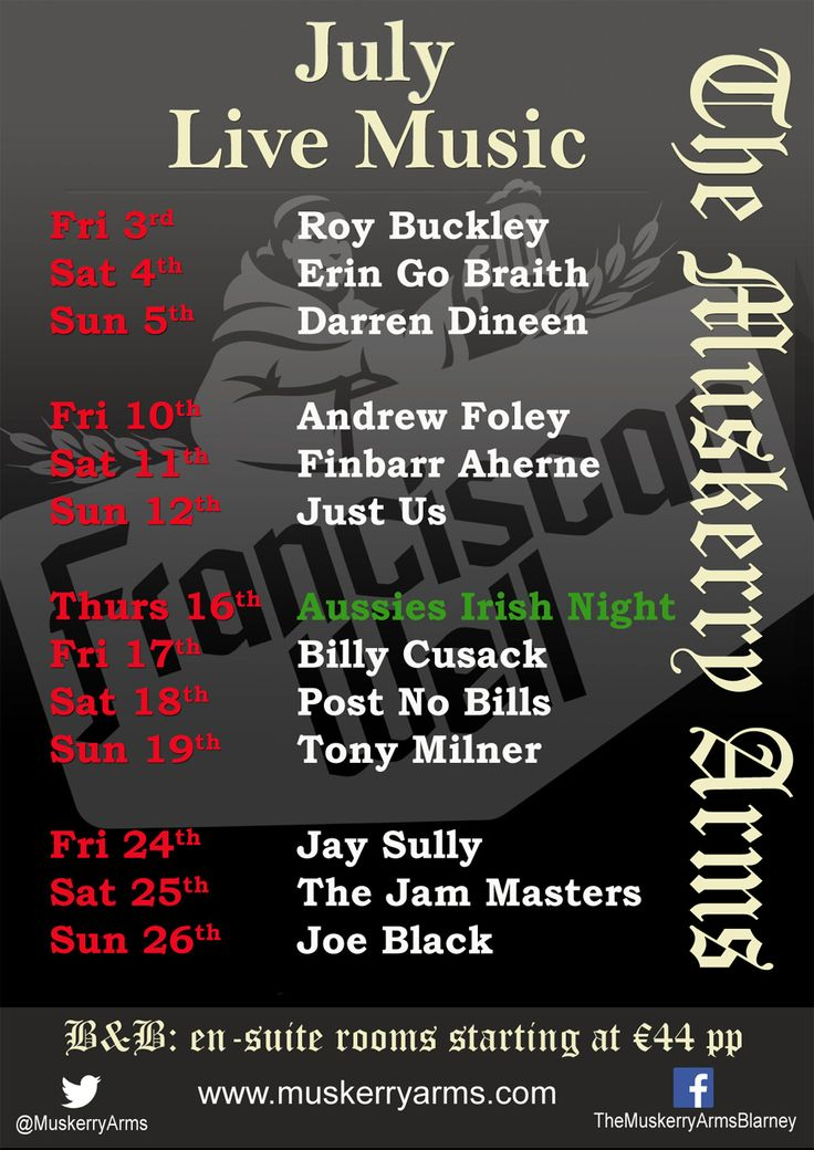 Live music schedule for weekend music July 2015. Live music every night during summer months.