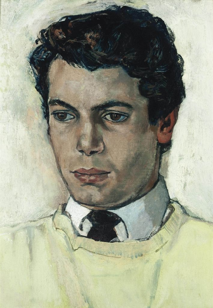 John Minton (1917-1957) Portrait of a Young Man oil on canvas 14 x 10 in. (35.1 x 25.4 cm.)