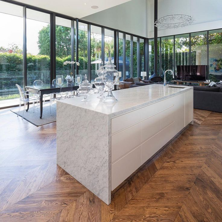 Carrara Marble Kitchen Benchtops: Kitchen With Island Bench, La Blanche Island And