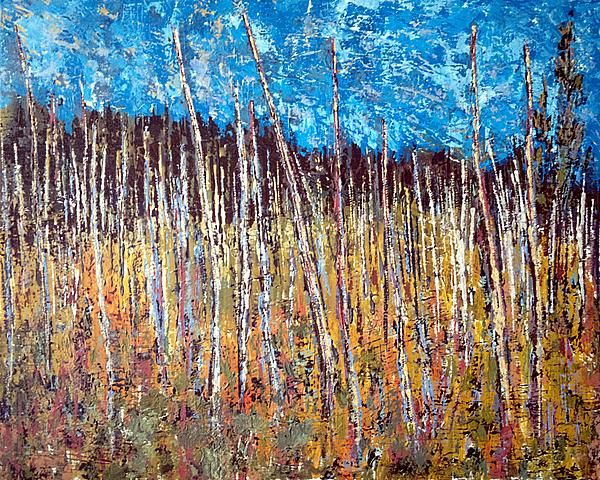 Colorful palette knife painting of a swamp (or bog) festooned with dead trees, remnants of a more vibrant time.