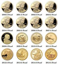 2000-2015 S Proof Sacagawea Dollar American Native Complete Set $25 (16 Coins)