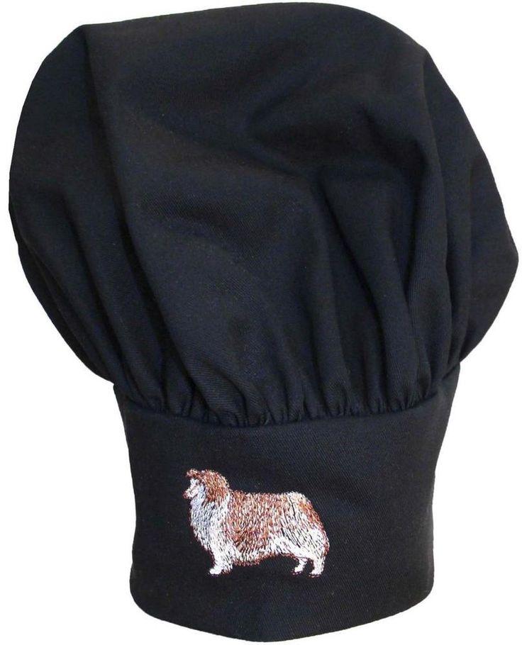 Sheltie Shetland Sheepdog Breed Monogram Chef Hat Black Puffy Kitchen Cap Gift #DaystarApparel