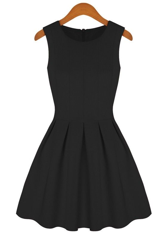 Super Cute! Simple and Elegant! Black Plain Round Neck Sleeveless Cotton Blend Party Dress #LBD #Party #Dress #Fashion