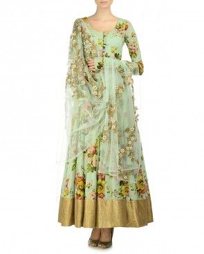 Printed Sea Green Suit with Embroidered Dupatta by kylee from exclusively