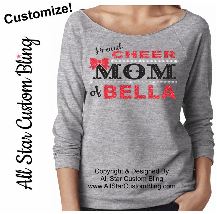 Proud Cheer Mom Bling Terry Raw Edge Raglan Shirt 3/4 Sleeve, Custom Cheer Mom Shirt, Mom Cheer Shirt, Personalized Cheer Mom Raglan by AllStarCustomBling on Etsy