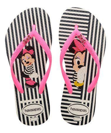 Look what I found on #zulily! White Stripe & Shocking Pink Minnie Flip-Flop - Women by Havaianas #zulilyfinds