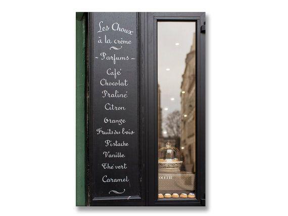 Parigi fotografia su tela - pasticceria Menu segno, Galleria avvolto in tela, grande parete arte, architettonico urbano Home Decor,