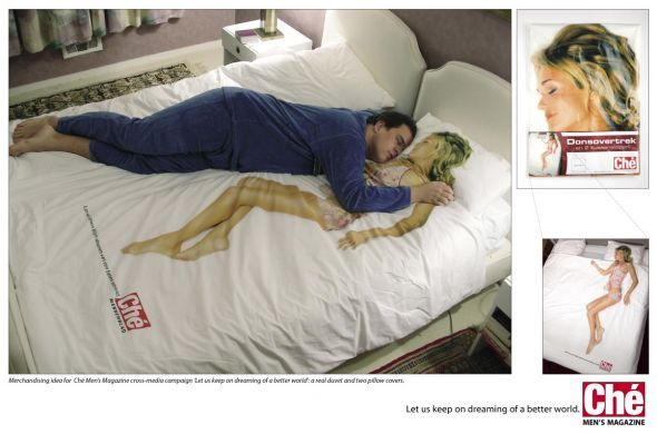 Ché men's magazine: Duvet | #ambient #creative #guerillamarketing  #campaign #btl #bed #advertising #guerilla #ambientmedia <<< found on www.adsoftheworld.com pinned by an #advertising agency from #Hamburg / #Germany - www.BlickeDeeler.de | Follow us on www.facebook.com/BlickeDeeler