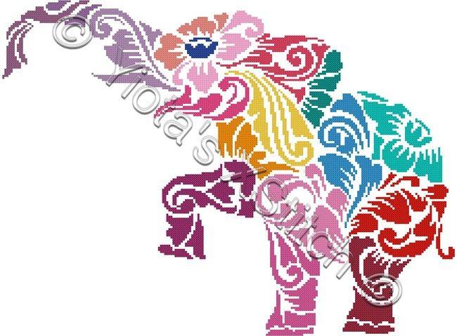 Tribal elephant in colour cross stitch kit   Yiotas XStitch