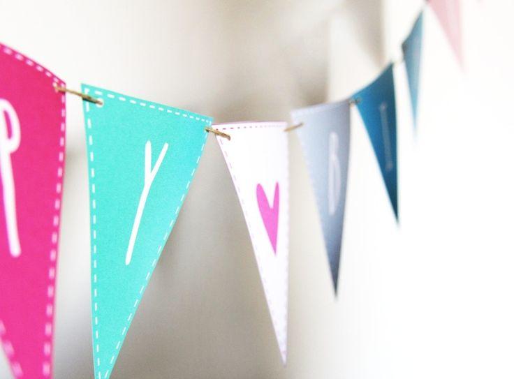 Happy Birthday  Fähnchen Girlande Geburtstag bunt von Lottes Laden auf DaWanda.com