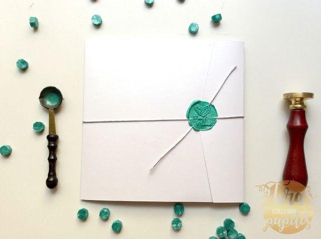 invitación de boda con sello de cera