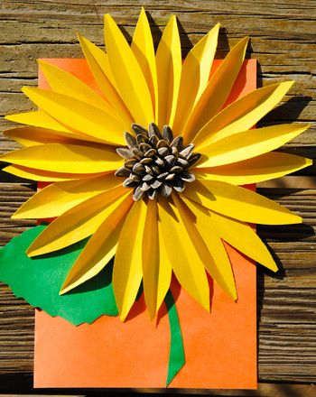 Craft a Fall Sunflower Card. This could be good to teach kids how to fold in…