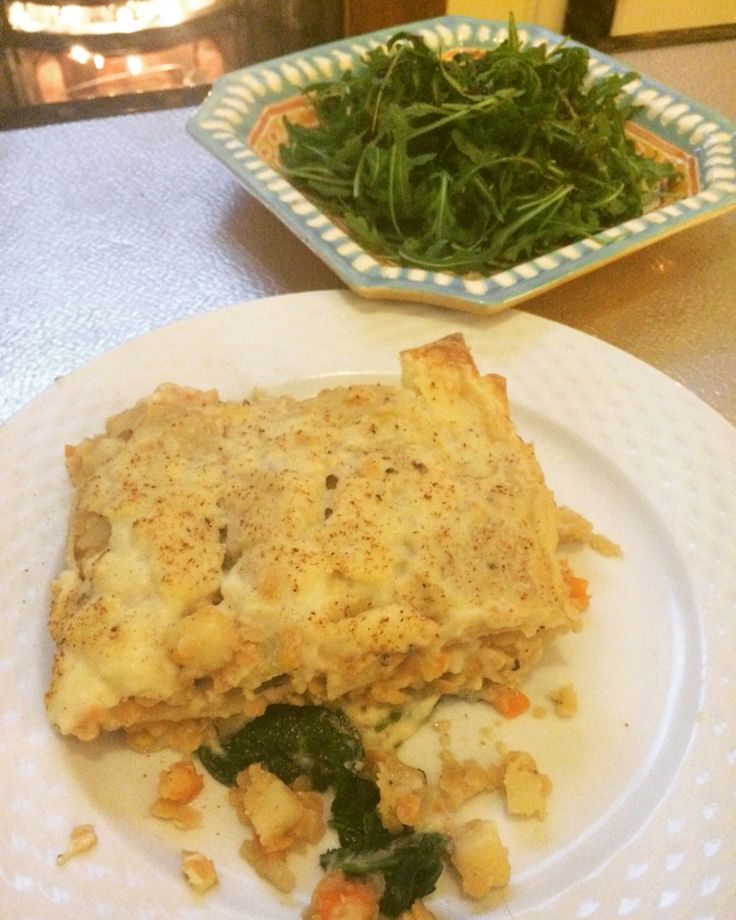 Vegan red lentil and spinach lasagne.