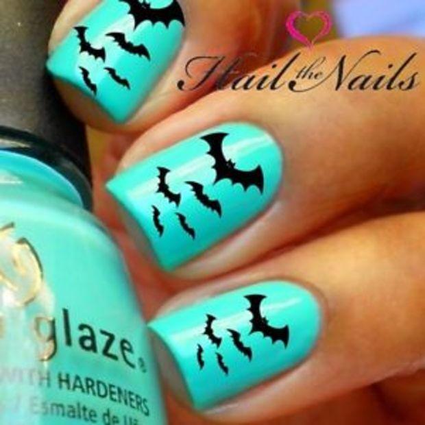 2 Sets Halloween Nail WRAPS Nail Art Water Transfers 40 Decals Black Bats