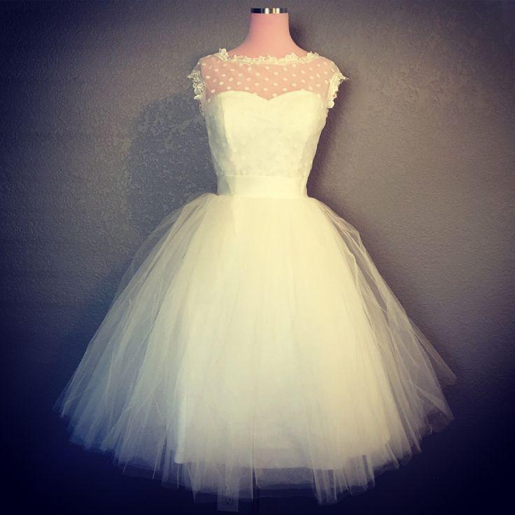 Retro Polka Dot Short Wedding Dress - White or Ivory Wedding Dress - Vintage Inspired Wedding Dress by StaysiLeeCouture on Etsy https://www.etsy.com/listing/459223352/retro-polka-dot-short-wedding-dress