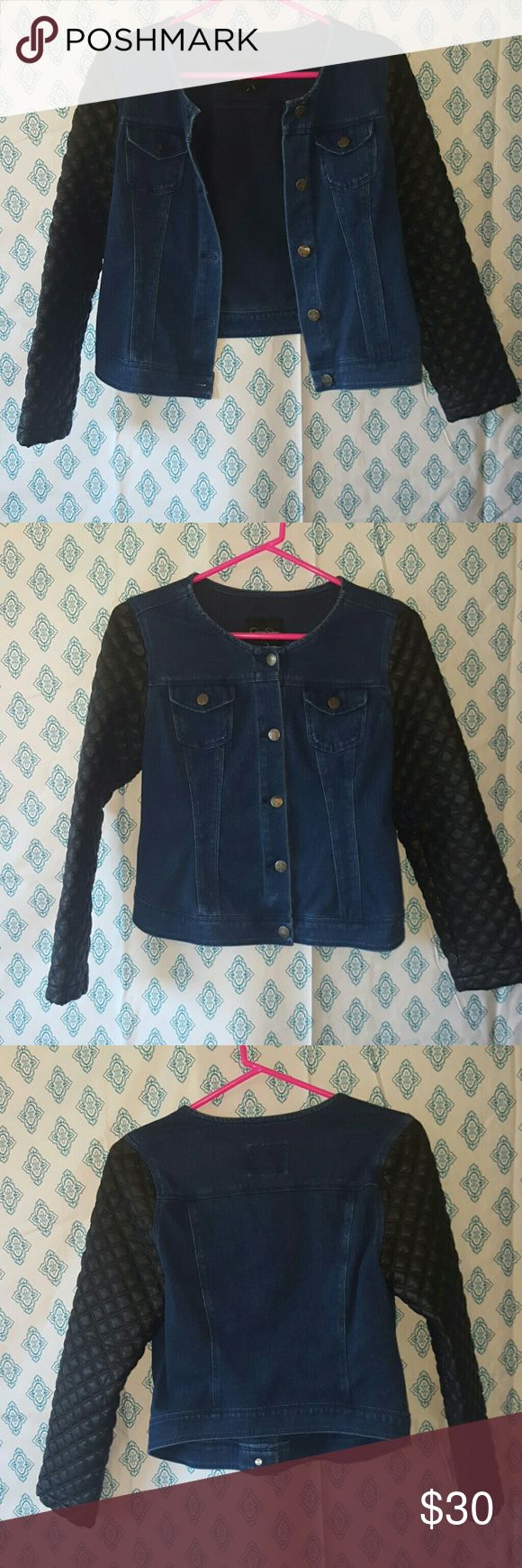 Jessica simpson jacket Faux leather and denim moto jacket Jessica Simpson Jackets & Coats