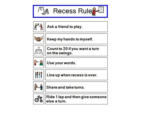 Recess Rules..minus the rules that have to do with an actual playground...poor kiddies.