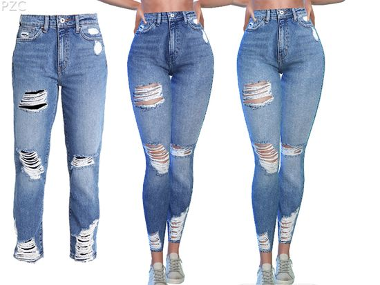 be9a3199952 -some cute destroyed denim jeans available in 8 colors Found in TSR  Category 'Sims 4 Female Everyday'