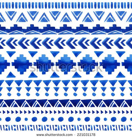 Watercolor ethnic seamless pattern. Aztec geometric background. Hand drawn blue pattern. Scandinavian pattern. Modern abstract wallpaper. Vector illustration.  - stock vector