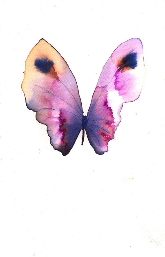 magenta purple and yellow gold with black spots butterfly original watercolour and ink painting