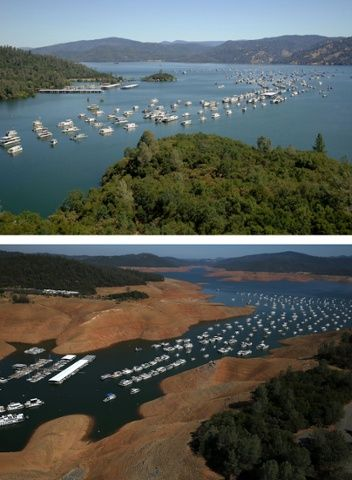 Full water levels at the Bidwell Marina at Lake Oroville compared with much lower levels now.
