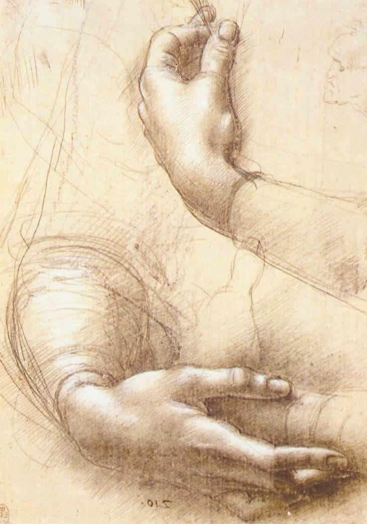 Руки - эскиз Леонардо да Винчи
