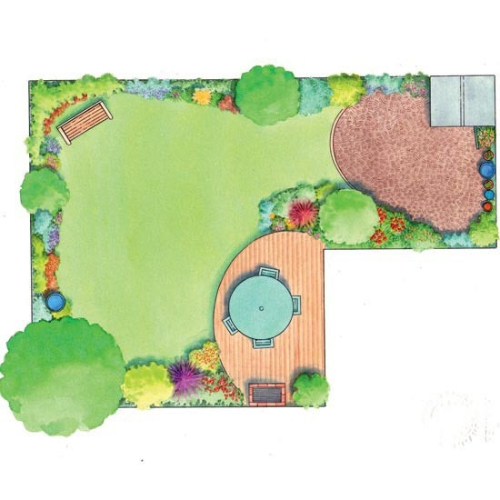 L shaped garden design idea (With images)   Garden design ... on L Shaped Backyard Layout id=89456