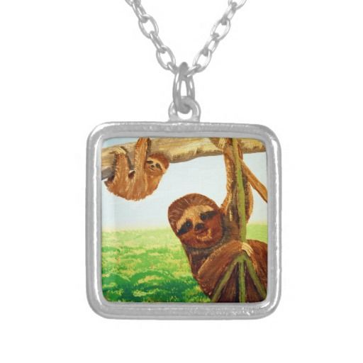Mom  Baby Three Toed Sloths Personalized Necklace