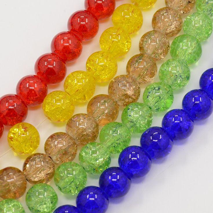 Chapelet d'environ 100 perles de verre craquelées 6 mm