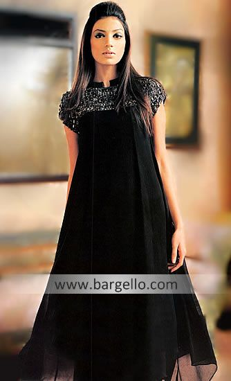 D3376 Black Partywear Anarkali India, Black Party Outfit India, Black Party Dresses India Pakistan Evening Wear