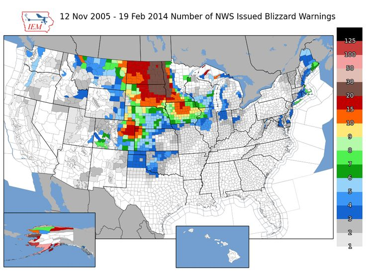 Blizzard Warnings Per US County Over The Last Years X - Us weather warnings map