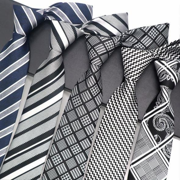 Men/'s Classic 8cm Tie Jacquard Woven Plaid Striped Silk Wedding Party Necktie