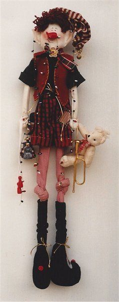PATTERN Primitive Christmas Elf Doll & Teddy Bear UNCUT OOP Cranberry Corner
