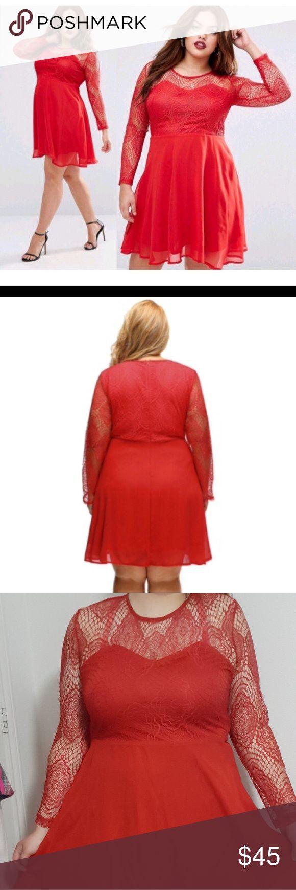 Boohoo Plus Size Lace Skater Dress Boohoo Plus Size Lace Skater Dress Size 16 but fits more like a 14.  Red Slated Dress with a flare at the bottom Boohoo Plus Dresses Mini