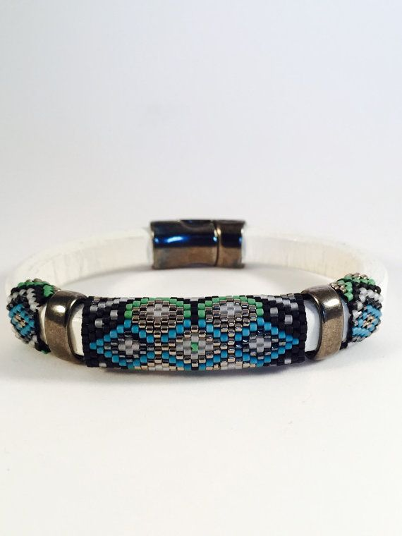 Beaded Licorice Leather Bangle The Arabesque by Calisi on Etsy