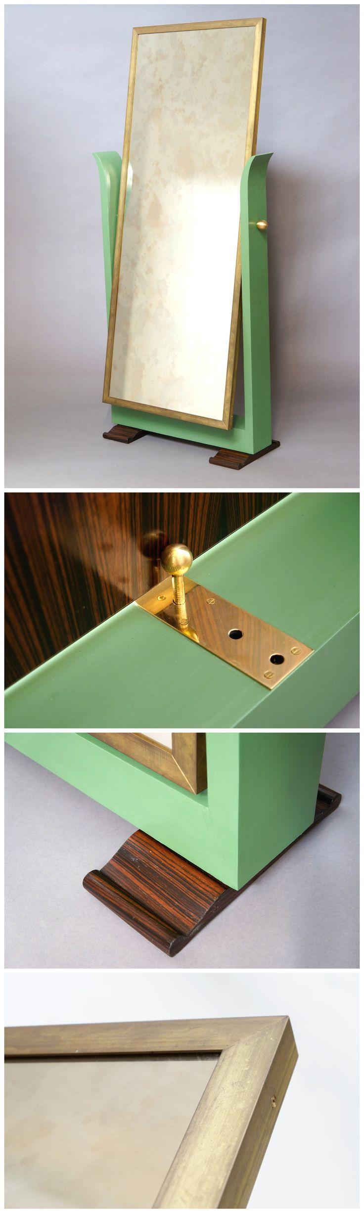 #Italian floor mirror, rosewood, brass & painted frame, #ArtDeco style.