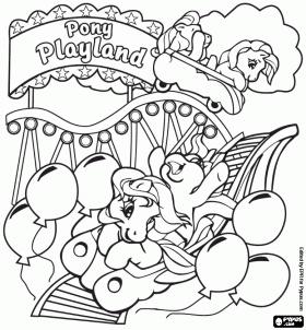 Coloriage Les poneys dans les montagnes russes du parc d'attractions Pony Playland