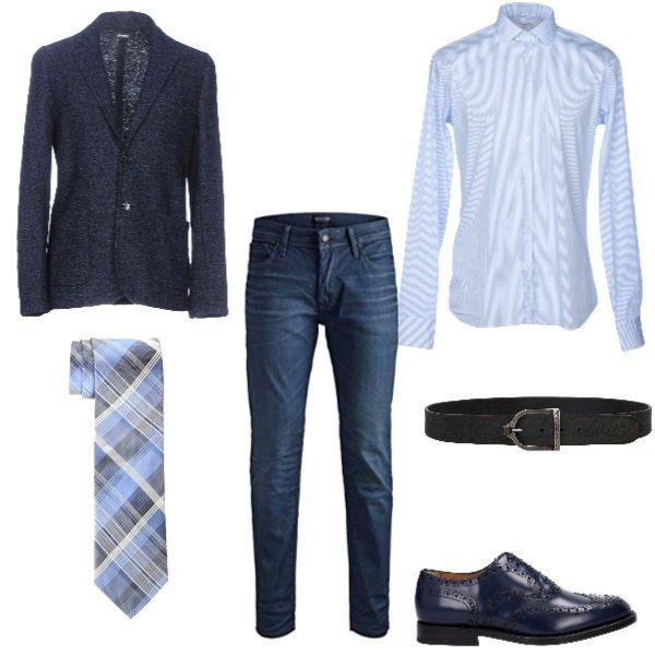 jeans camicia azzurra e giacca