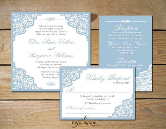 Elegant Lace Wedding Invitation Set, Square Invitation // DIY Printable // Dusty Blue, White and Gray