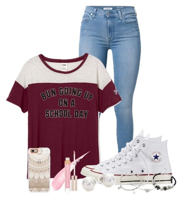 Messy Buns & Converse by nina4ever14 on Polyvore featuring 7 For All Mankind, Converse, Mikimoto, Lipsy, Casetify and Stila