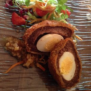 A traditional scotch egg at The Auld Smiddy Inn, Pitlochry, Perth and Kinross. - Food in Scotland
