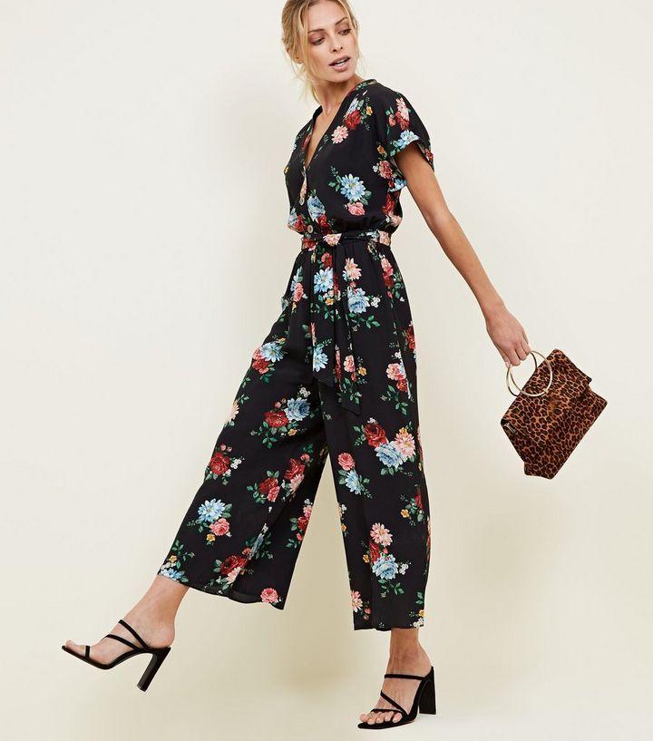 317119273b Black Floral Wide Leg Jumpsuit in 2019
